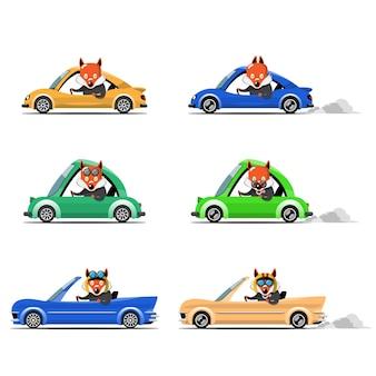Nettes tierantriebsauto der karikatur auf der straße