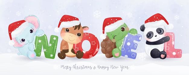 Nettes tierbanner für weihnachtsdekoration