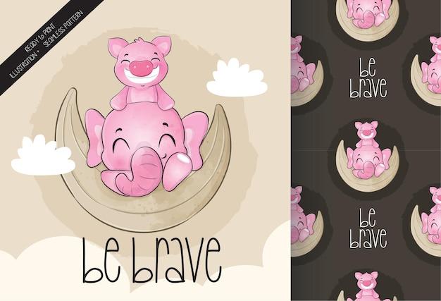 Nettes tierschwein mit elefant auf dem mond nahtloses muster und karte