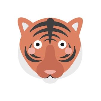 Nettes tigergesichtsporträt auf weißem hintergrund vektorillustration im flachen stil logoikone