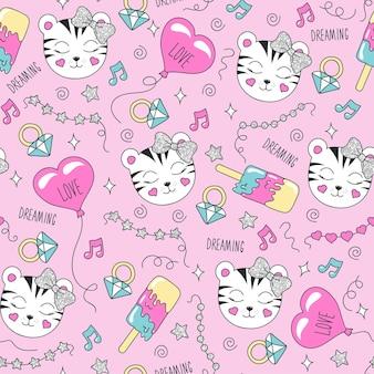 Nettes tigermuster auf einem rosa hintergrund. buntes trendiges nahtloses muster. modeillustrationszeichnung im modernen stil für kleidung. zeichnen für kinderkleidung, t-shirts, stoffe oder verpackungen.
