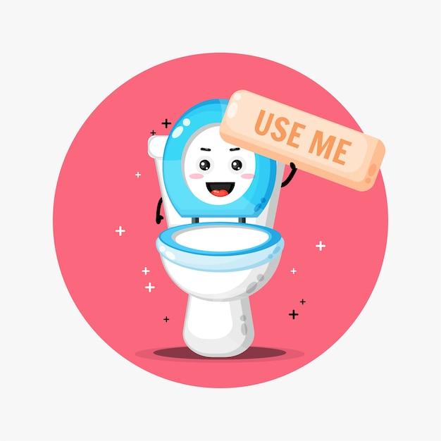 Nettes toilettenschüssel-maskottchen bittet, benutzt zu werden