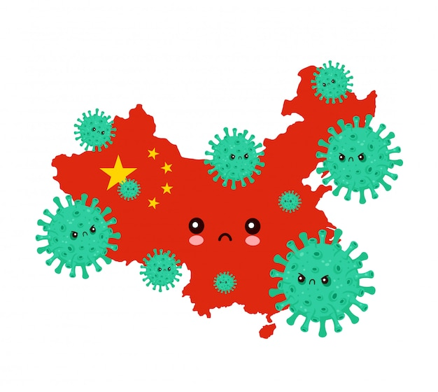 Nettes trauriges china griff coronavirus-infektion an.