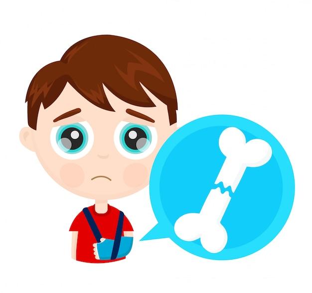 Nettes trauriges kinderkind des kleinen jungen mit dem gebrochenen armknochen im infographic konzept des gipses.