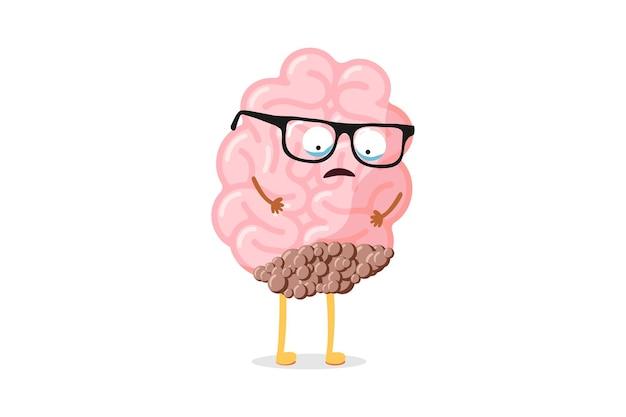 Nettes trauriges menschliches gehirn der karikatur mit krebstumor. krankes leidendes organ des zentralen nervensystems. vektorschmerzcharakter-kopfschmerzillustration