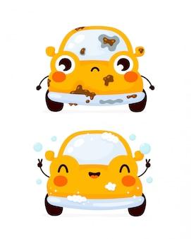 Nettes trauriges schmutziges und glückliches sauberes gelbes automobilauto. flache zeichentrickfigur illustration symbol. isoliert auf weiss. autowaschanlage