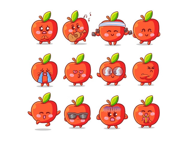 Nettes und kawaii apple sticker illustration set