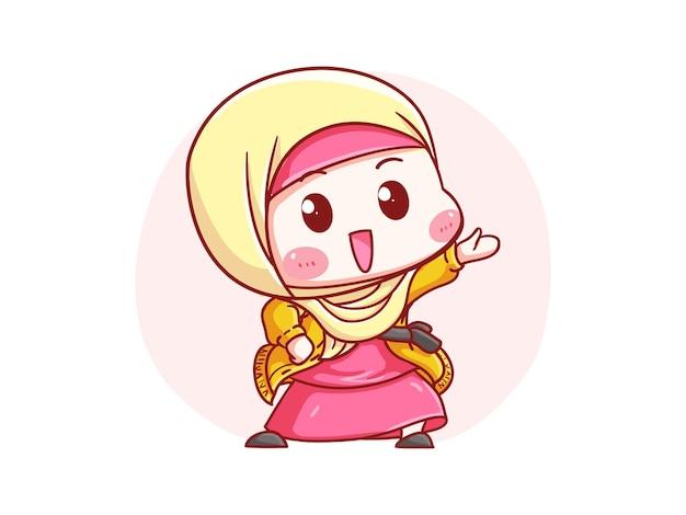 Nettes und kawaii glückliches hijab-mädchen, das auf ankündigung chibi illustration zeigt