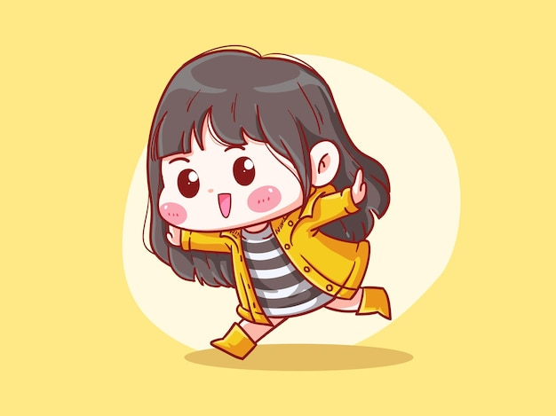 Nettes und kawaii glückliches mädchen tragen regenmantel und stiefel manga chibi illustration