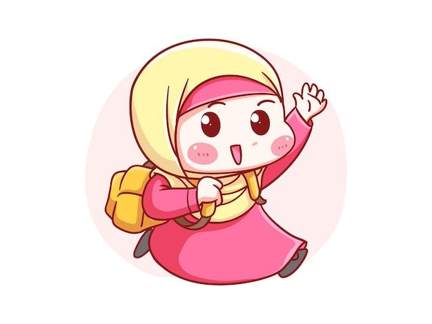 Nettes und kawaii hijab girl läuft mit rucksack zur schule manga chibi illustration