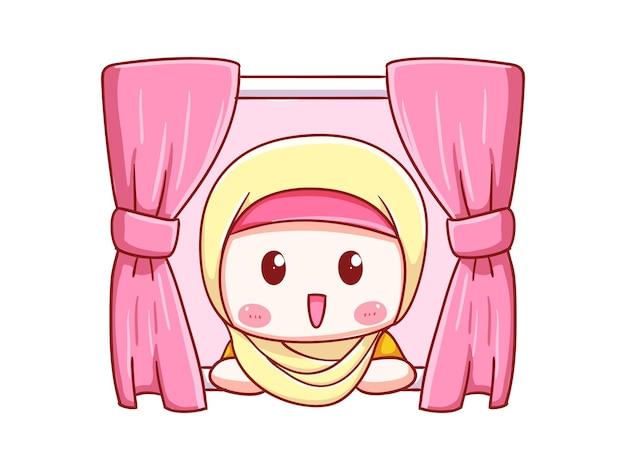 Nettes und kawaii hijab mädchen offenes fenster am morgen chibi illustration