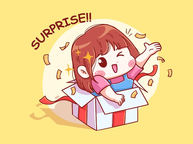 Nettes und kawaii mädchen geben überraschung von der gegenwärtigen box chibi illustration