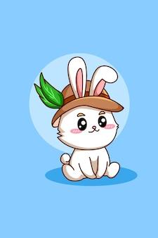 Nettes und lustiges kaninchen an der oktoberfestkarikaturillustration