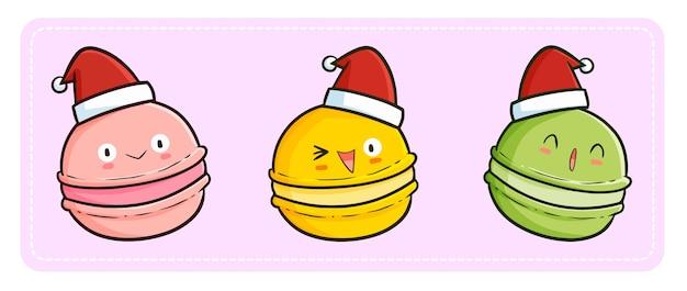 Nettes und lustiges kawaii drei macaron maskottchen, das weihnachtsmannmütze für weihnachten trägt