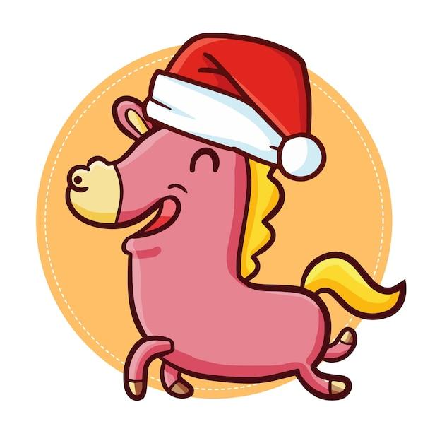 Nettes und lustiges kawaii pferd, das läuft und weihnachtsmannmütze für christma trägt