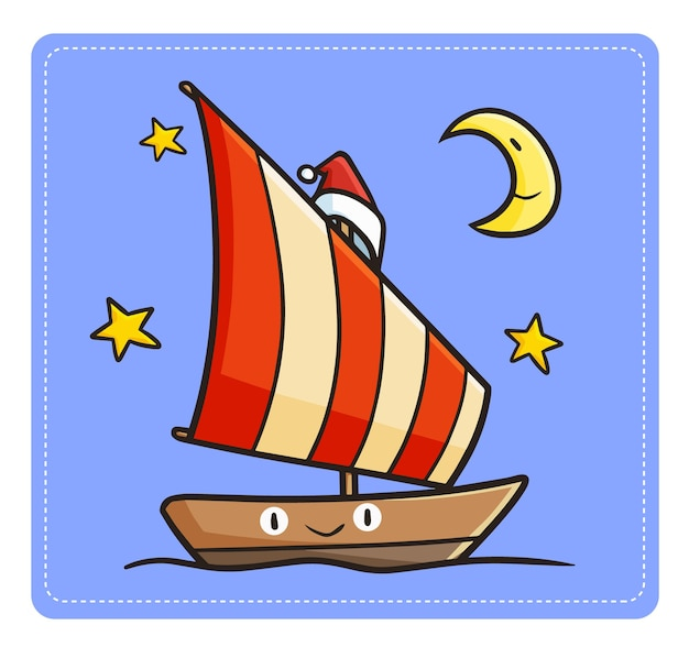 Nettes und lustiges kawaii segelboot, das nachts segelt und weihnachtsmannmütze für weihnachten trägt