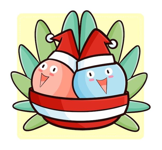 Nettes und lustiges kawaii zwei eis in der schüssel, die weihnachtsmannmütze für weihnachten trägt