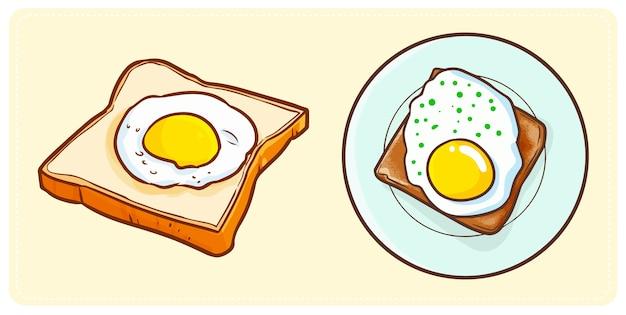 Nettes und lustiges leckeres spiegelei auf einem brot für ihr frühstück
