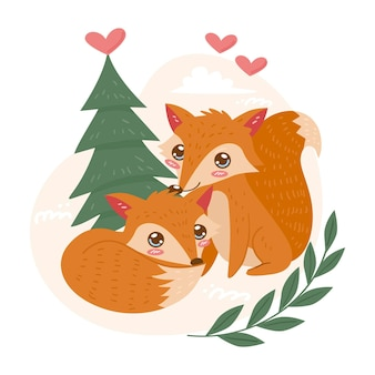Nettes valentinstag-tierpaar