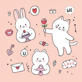 Nettes valentinstagkaninchen der karikatur und katze und bär und lovw kritzeln vektor.