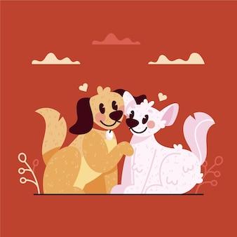 Nettes valentinstagkatzen- und hundepaar
