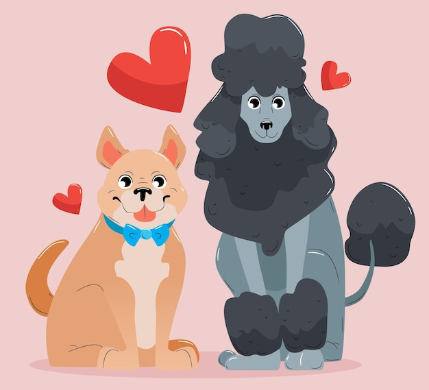 Nettes valentinstagstierpaar mit hunden