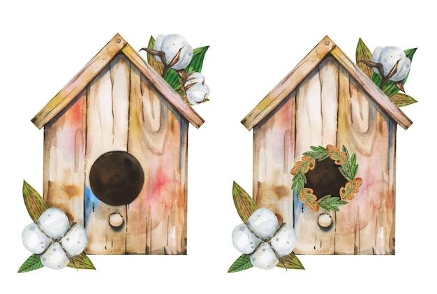 Nettes vogelhaus. frühlingsnachtvogelnest im weinlesestil mit wattestäbchen und grünen blättern.