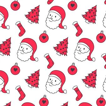 Nettes weihnachten kritzelt nahtloses muster
