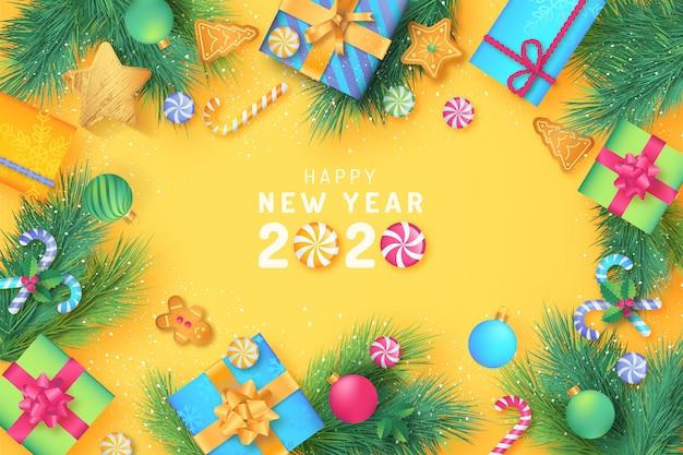 Nettes weihnachten mit süßigkeiten und geschenken