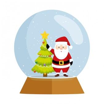 Nettes weihnachten weihnachtsmann im kugelschnee