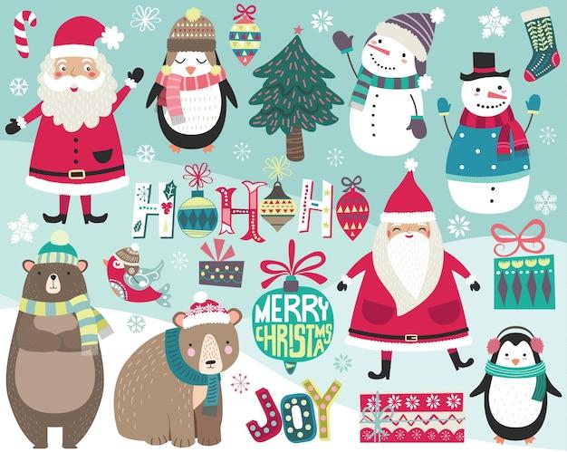 Nettes weihnachts-digitales kunstsammlungsset
