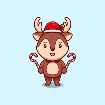 Nettes weihnachts-rentier, das zuckerstangen-karikatur-symbol-illustration hält.