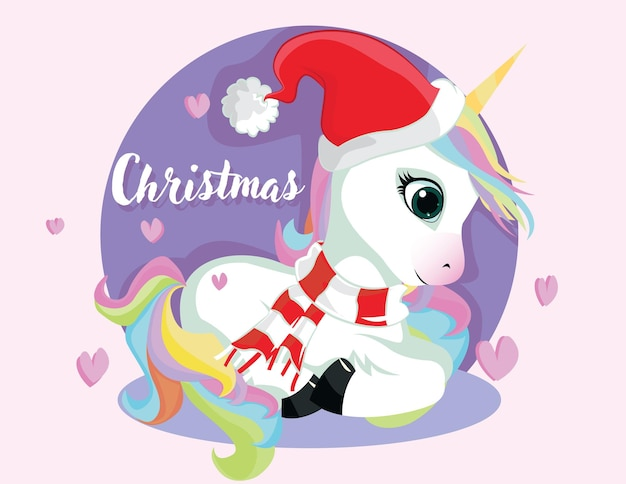 Nettes weihnachtscomic-einhorn. handgezeichnete süße einhorn-santa mit geschenken auf weißem hintergrund. cartoon-fantasie-tier.
