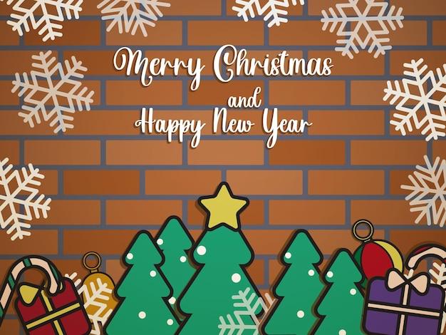 Nettes weihnachtsfahnen-hintergrund-flaches design
