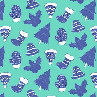 Nettes weihnachtsgekritzelmuster