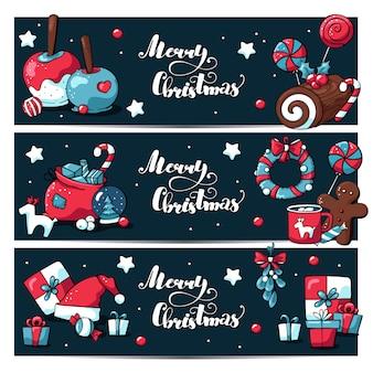 Nettes weihnachtshorizontales fahnenset mit gekritzelelementen und beschriftung der frohen weihnachten