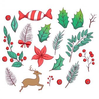 Nettes weihnachtslaub oder -elemente mit bunter hand gezeichneter art
