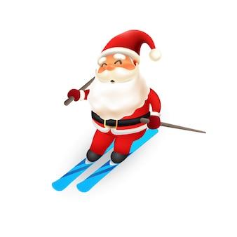 Nettes weihnachtsmann-eisskifahren. vektor-illustration
