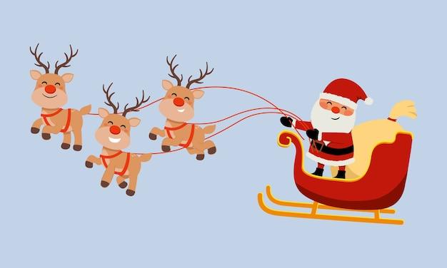 Nettes weihnachtsmannbild, das rentierschlitten reitet. frohe weihnachten clipart. flacher vektor isoliert.