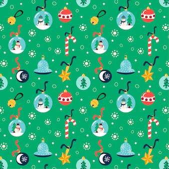 Nettes weihnachtsmuster mit elementen