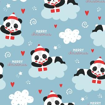 Nettes weihnachtsmuster mit panda.
