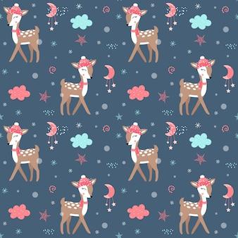 Nettes weihnachtsmuster mit rotwild
