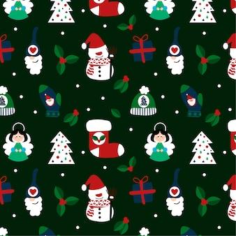 Nettes weihnachtsmuster mit weihnachtsmotiven
