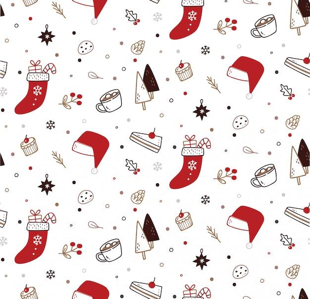 Nettes weihnachtsnahtloses muster in der gekritzelart