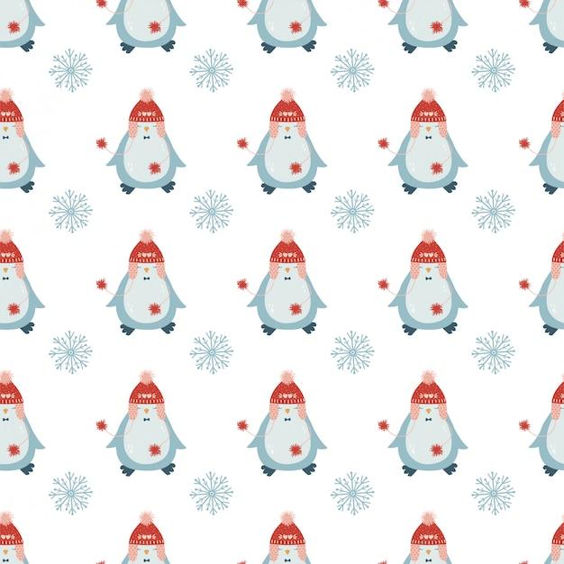 Nettes weihnachtsnahtloses muster mit einem pinguin im titel