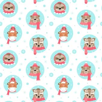 Nettes weihnachtsnahtloses muster mit tieren