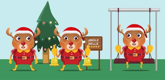 Nettes weihnachtsrentier, das weihnachtsmannkostüm hält, das die glocke hält