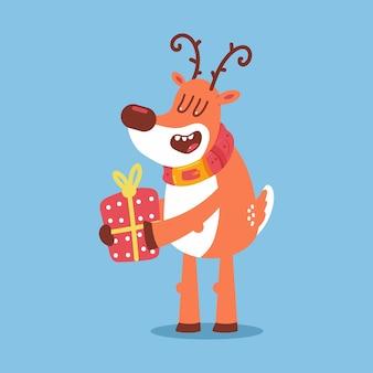 Nettes weihnachtsrentier mit geschenkboxvektor-zeichentrickfigur isoliert auf