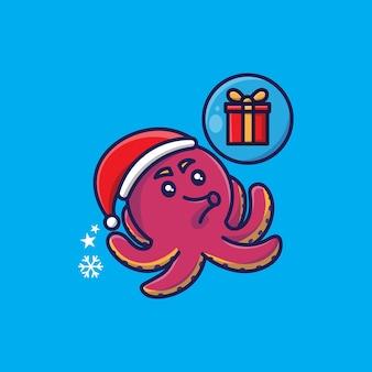 Nettes weihnachtsthema-oktopus-design