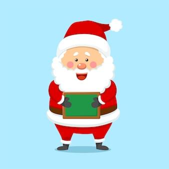Nettes weihnachtsweihnachtsmann-holding-brett